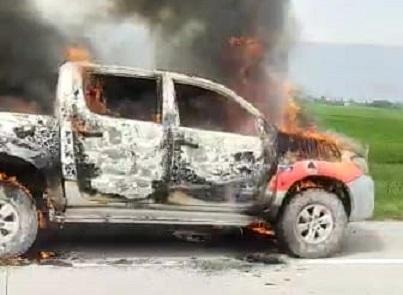 Mobil Dinas Milik BPPRD Batu Bara Hagus Terbakar