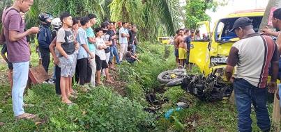 Tabrakan Terjadi Di Jalan Binjai- Kuala, Pengendara Vario Tewas